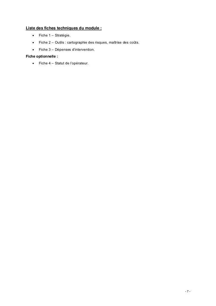 Liste des fiches techniques du module :   •   Fiche 1 – Stratégie.   •   Fiche 2 – Outils : cartographie des risques, maît...