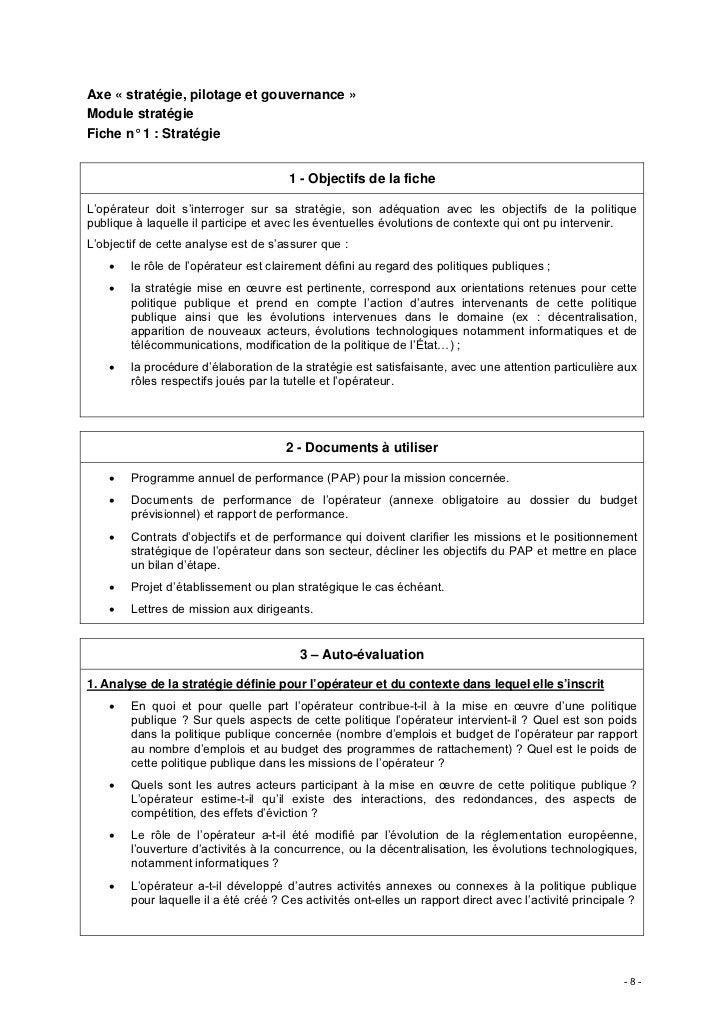 Axe « stratégie, pilotage et gouvernance »Module stratégieFiche n° 1 : Stratégie                                       1 -...