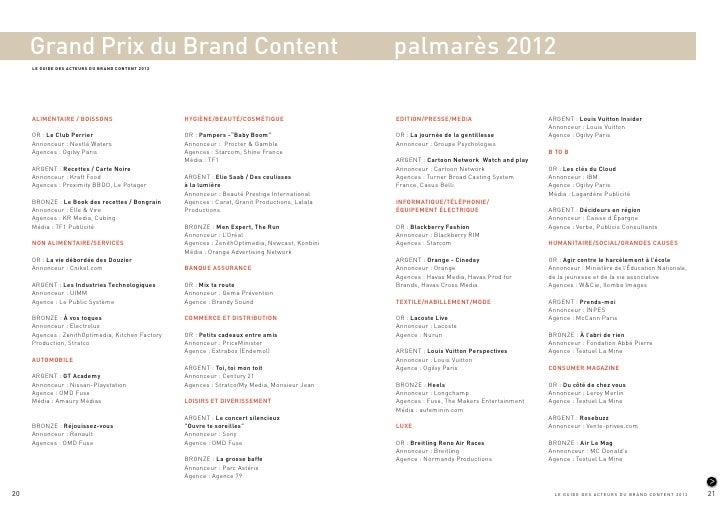 Grand Prix du Brand Content                                                                palmarès 2012     LE GUIDE DES ...