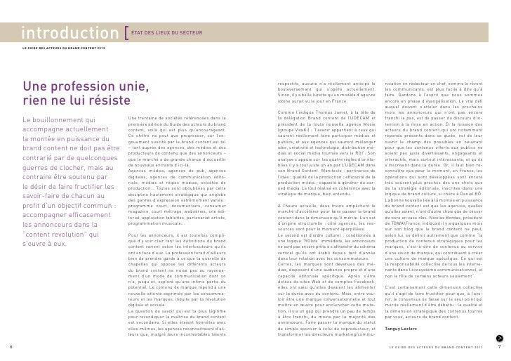introduction                                  ÉTAT DES LIEUX DU SECTEUR    LE GUIDE DES ACTEURS DU BRAND CONTENT 2012    U...