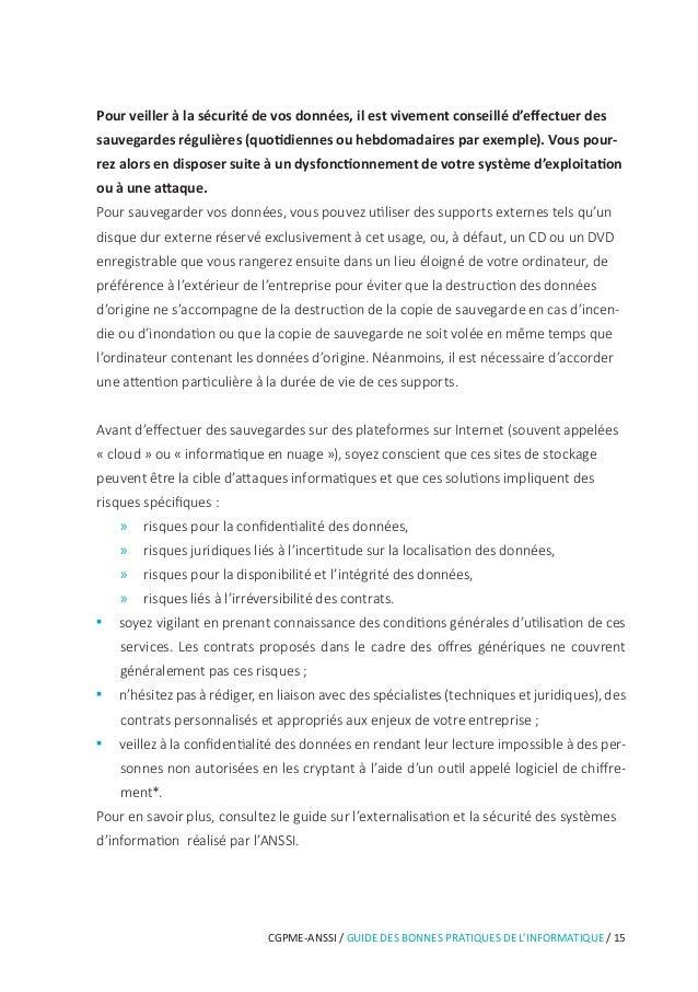 20 / GUIDE DES BONNES PRATIQUES DE L'INFORMATIQUE / CGPME-ANSSI 6 Être aussi prudent avec son ordiphone (smartphone) ou sa...