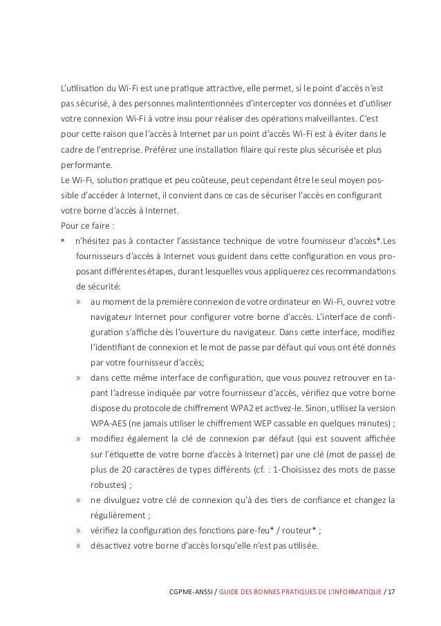 22 / GUIDE DES BONNES PRATIQUES DE L'INFORMATIQUE / CGPME-ANSSI 7 Protéger ses données lors de ses déplacements Dans un aé...