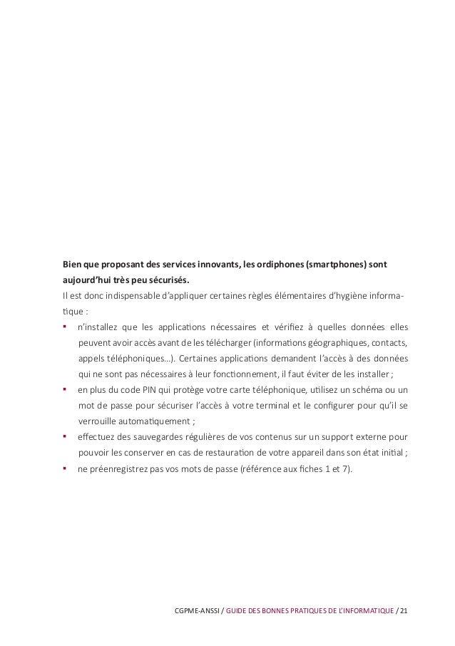 CGPME-ANSSI / GUIDE DES BONNES PRATIQUES DE L'INFORMATIQUE / 27 Les courriels et leurs pièces jointes jouent souvent un rô...