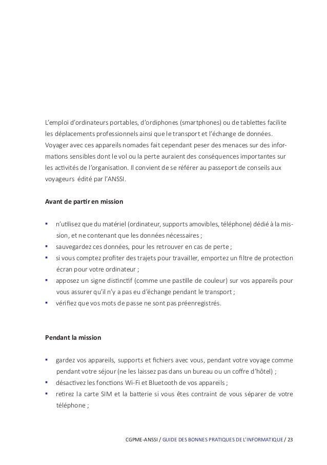 CGPME-ANSSI / GUIDE DES BONNES PRATIQUES DE L'INFORMATIQUE / 29 Si vous téléchargez du contenu numérique sur des sites Int...
