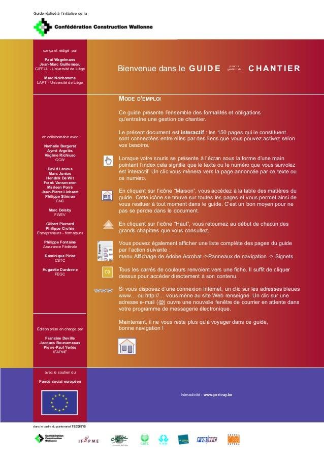 Guide réalisé à l'initiative de la      conçu et rédigé par     Paul Wagelmans                                            ...