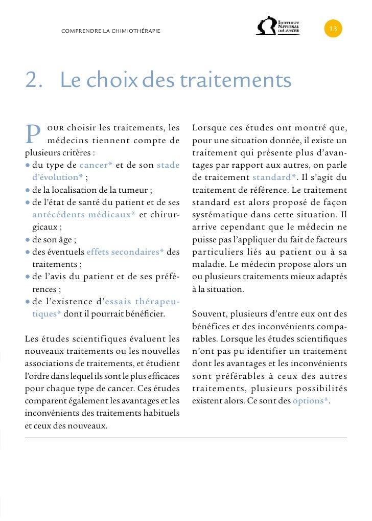 cOMPRENDRE LA cHIMIOTHÉRAPIE                                                12. Le choix des traitementsP     our choisir ...