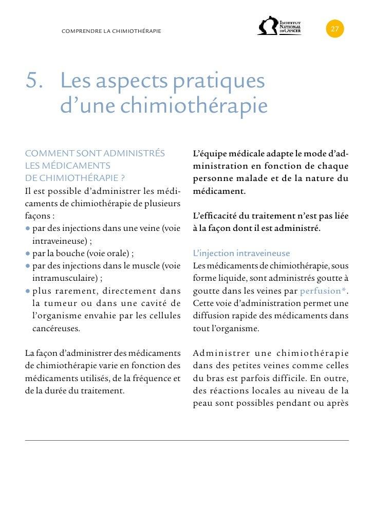 cOMPRENDRE LA cHIMIOTHÉRAPIE                                           5. Les aspects pratiques   d'une chimiothérapiecOMM...
