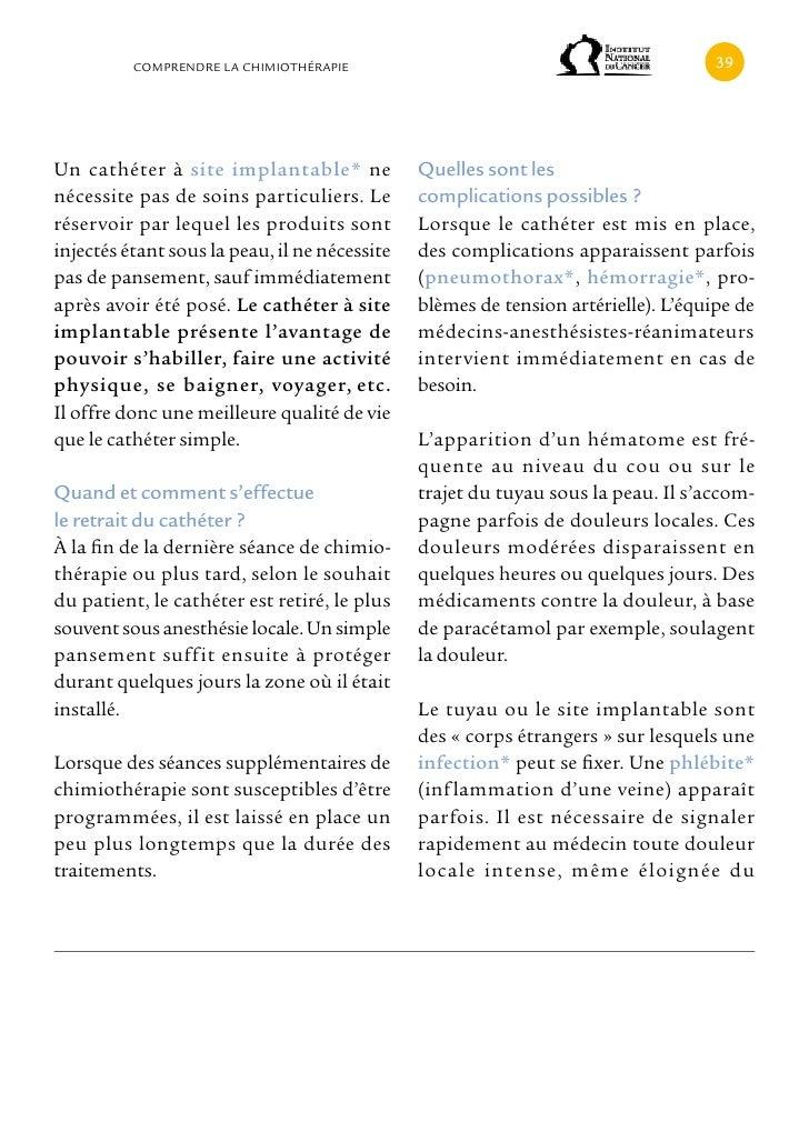 cOMPRENDRE LA cHIMIOTHÉRAPIE                                              Un cathéter à site implantable* ne             Q...