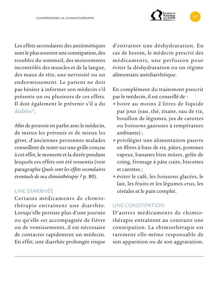 cOMPRENDRE LA cHIMIOTHÉRAPIE                                              Les effets secondaires des antiémétiques       d...