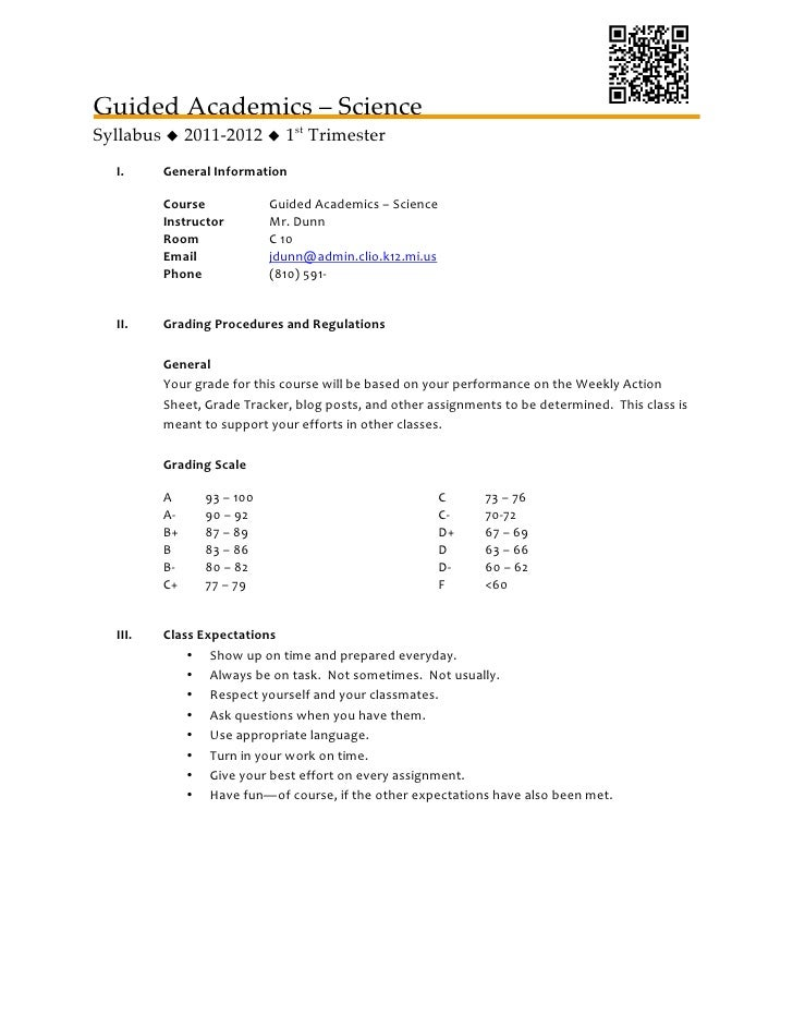 guided academics science syllabus