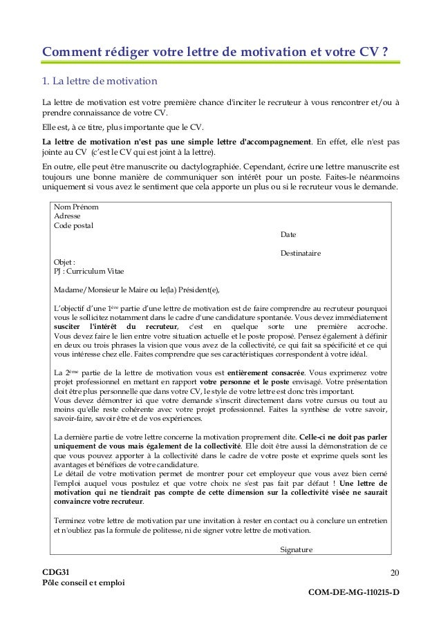 lettre de motivation avancement de grade