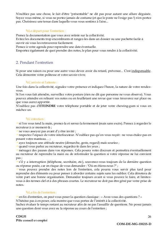 Guide pratique du demandeur d'emploi, fonction publique territoriale