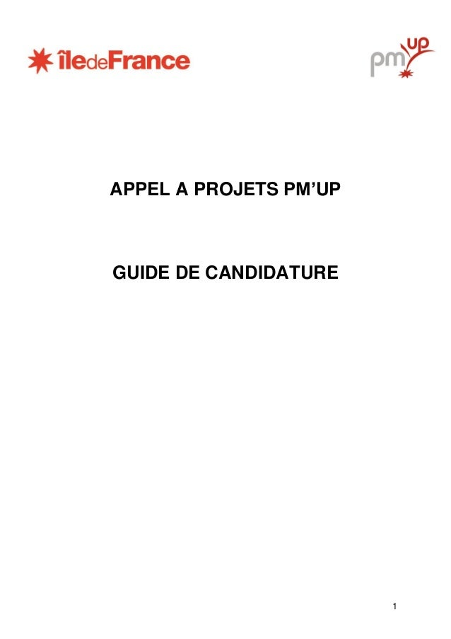 1 APPEL A PROJETS PM'UP GUIDE DE CANDIDATURE