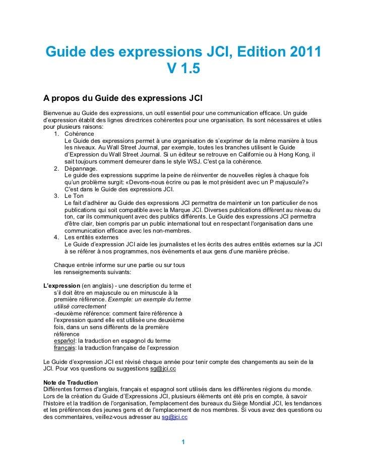 Guide des expressions JCI, Edition 2011                V 1.5A propos du Guide des expressions JCIBienvenue au Guide des ex...