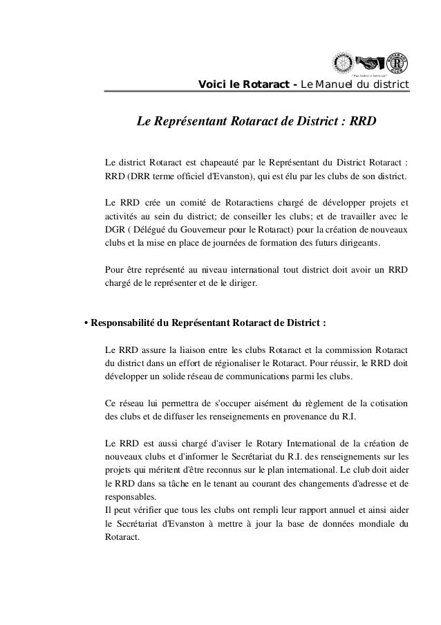 """ Partn ers in Se rvi ce ""  Voici le Rotaract - Le Manuel du district  Le Représentant Rotaract de District : RRD  Le dist..."