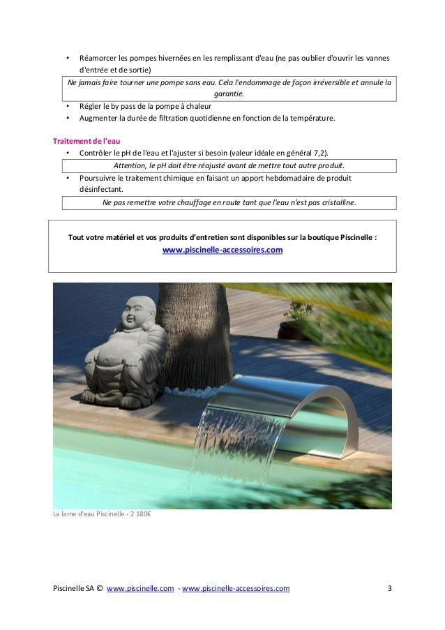 Guide de la remise en service de piscine - Remise en route piscine apres hivernage passif ...