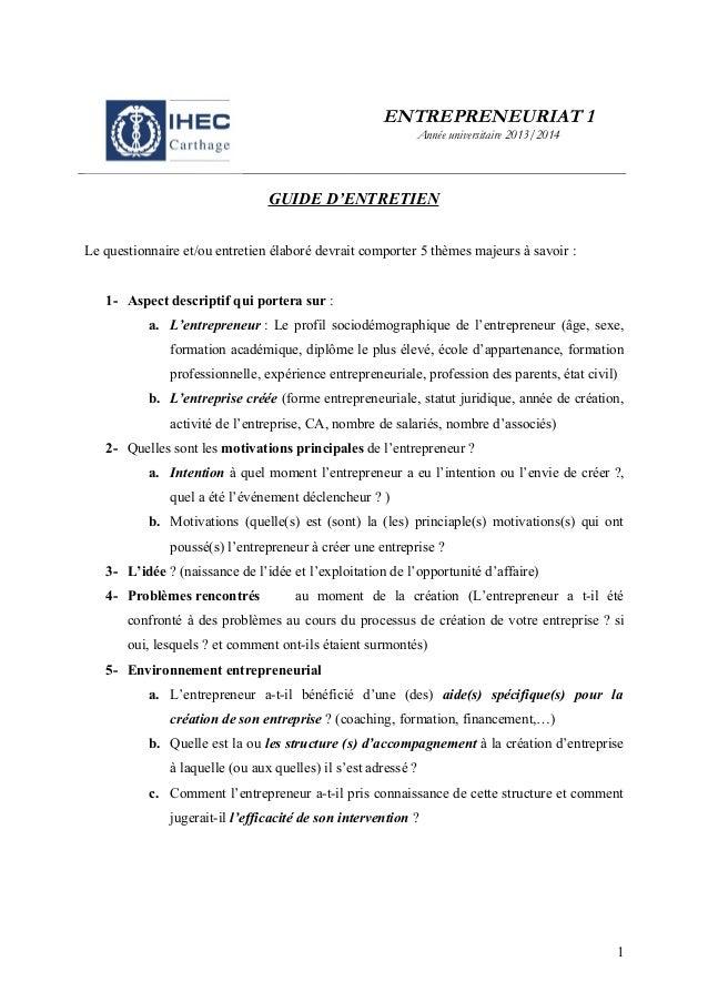 Guide d 39 entretien avec un entrepreneur expos s 2 lfg 2013 - Grille d entretien semi directif exemple ...