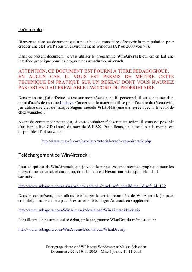 DE PACK WINAIRCRACK VERSION LA TÉLÉCHARGER