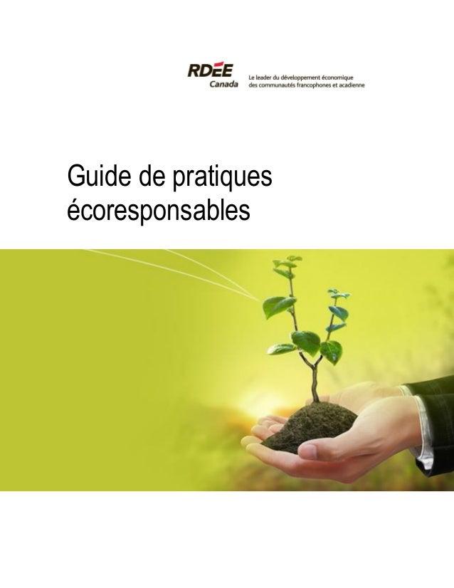 Guide de pratiques écoresponsables