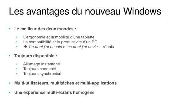 Les avantages du nouveau Windows• Le meilleur des deux mondes :   •   •   •• Toujours disponible :   •   •   •• Multi-util...