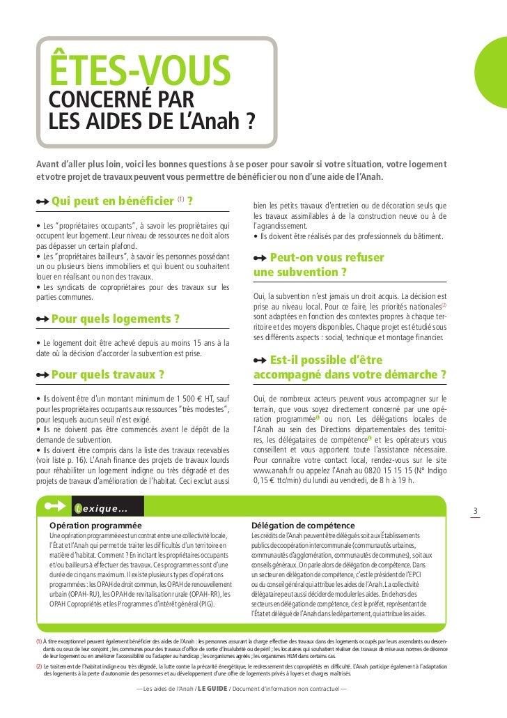 guide des aides de l agence nationale de l habitat anah avril 2012. Black Bedroom Furniture Sets. Home Design Ideas