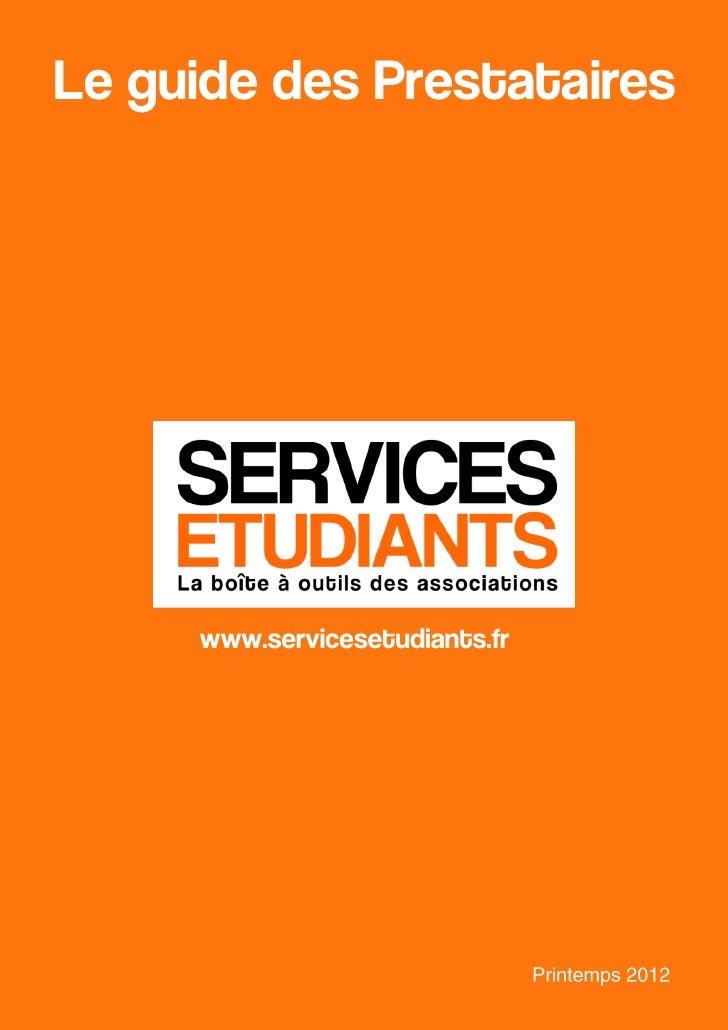 Le guide des Prestataires     www.servicesetudiants.fr