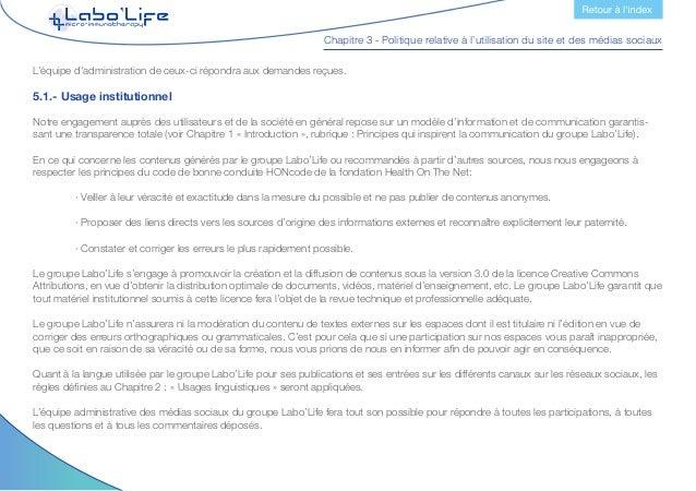 Chapitre 3 - Politique relative à l'utilisation du site et des médias sociaux L'équipe administrative sera chargée de la g...