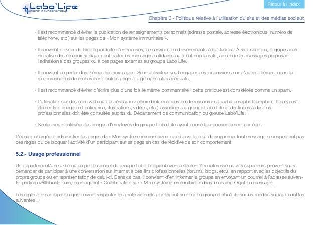 Chapitre 3 - Politique relative à l'utilisation du site et des médias sociaux  · En règle générale, il est recommandé de ...
