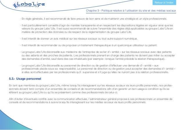 Chapitre 3 - Politique relative à l'utilisation du site et des médias sociaux Partagez vos connaissances  · Tous les prof...