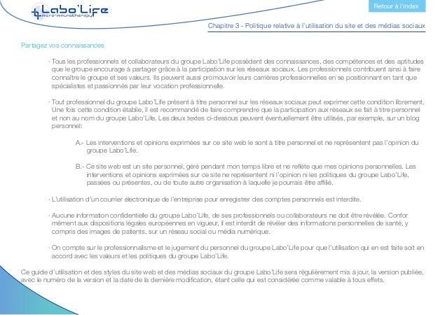 Chapitre 3 - Politique relative à l'utilisation du site et des médias sociaux 6.- Obligations et responsabilités des diffé...
