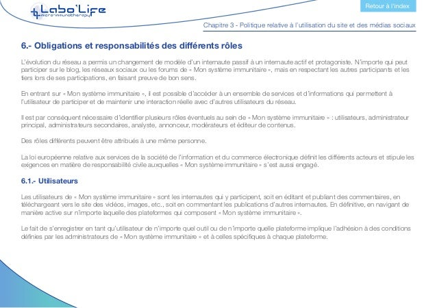 Chapitre 3 - Politique relative à l'utilisation du site et des médias sociaux Obligations Les utilisateurs peuvent télécha...