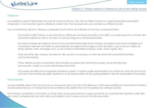 Chapitre 3 - Politique relative à l'utilisation du site et des médias sociaux 6.2.- Administrateurs des médias sociaux Adm...