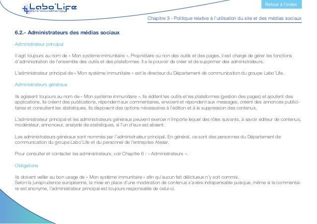 Chapitre 3 - Politique relative à l'utilisation du site et des médias sociaux Responsabilités Leurs responsabilités concer...