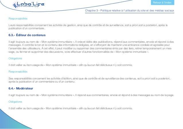 Chapitre 3 - Politique relative à l'utilisation du site et des médias sociaux Responsabilités Ses responsabilités concerne...