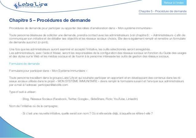 Chapitre 5 - Procédure de demande Département, adresse et service:  · A quel département de Labo'Life appartient la perso...