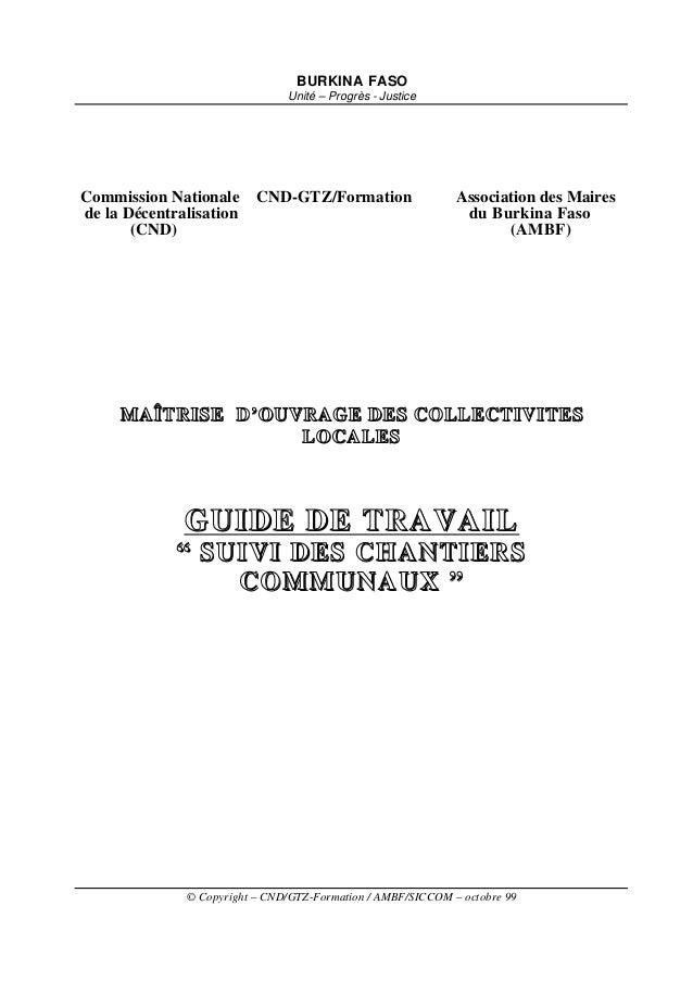 BURKINA FASO                               Unité – Progrès - JusticeCommission Nationale      CND-GTZ/Formation           ...