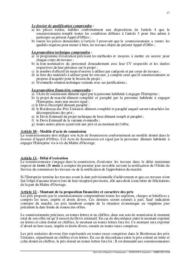 1 modele de lettre de soumission offre technique for Demande de travaux pour extension