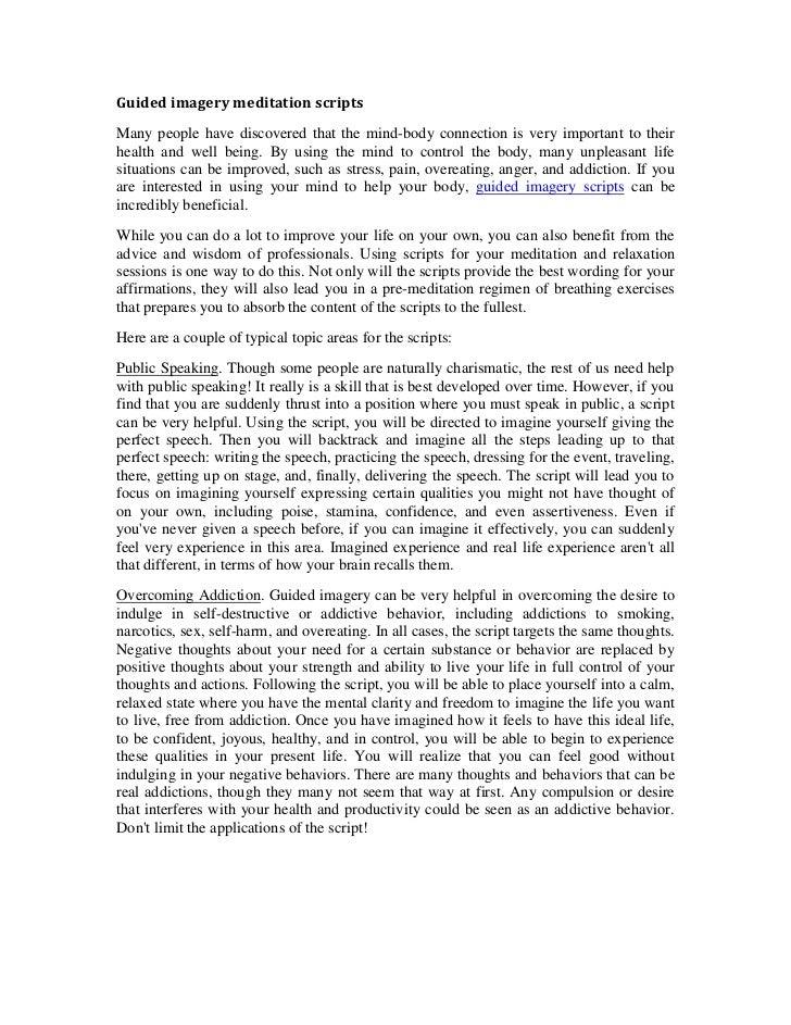 guided imagery meditation scripts rh slideshare net Guided Imagery Relaxation Script Guided Imagery Scripts PDF