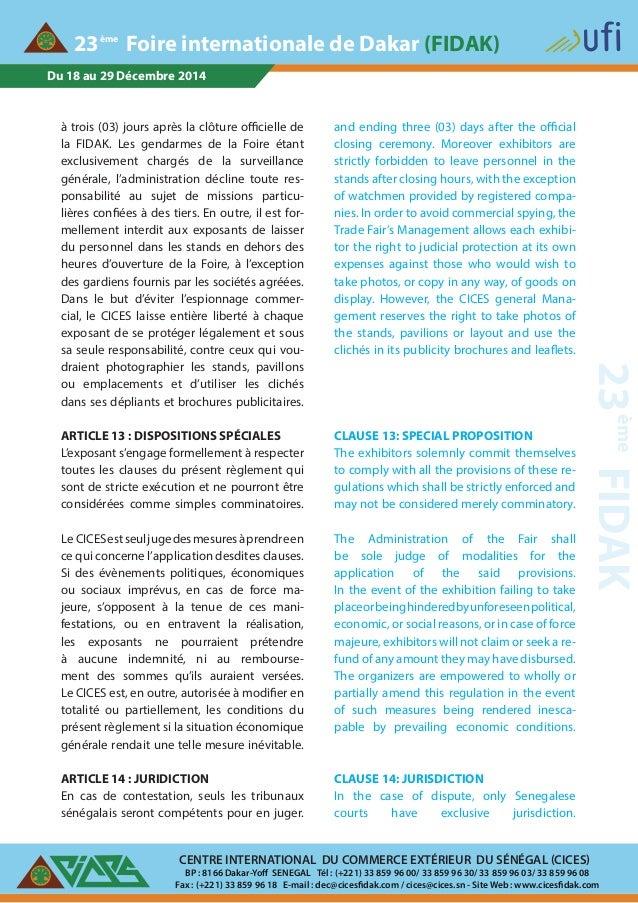 Du 18 au 29 Décembre 2014 CENTRE INTERNATIONAL DU COMMERCE EXTÉRIEUR DU SÉNÉGAL (CICES) BP : 8166 Dakar-Yoff SENEGAL Tél :...