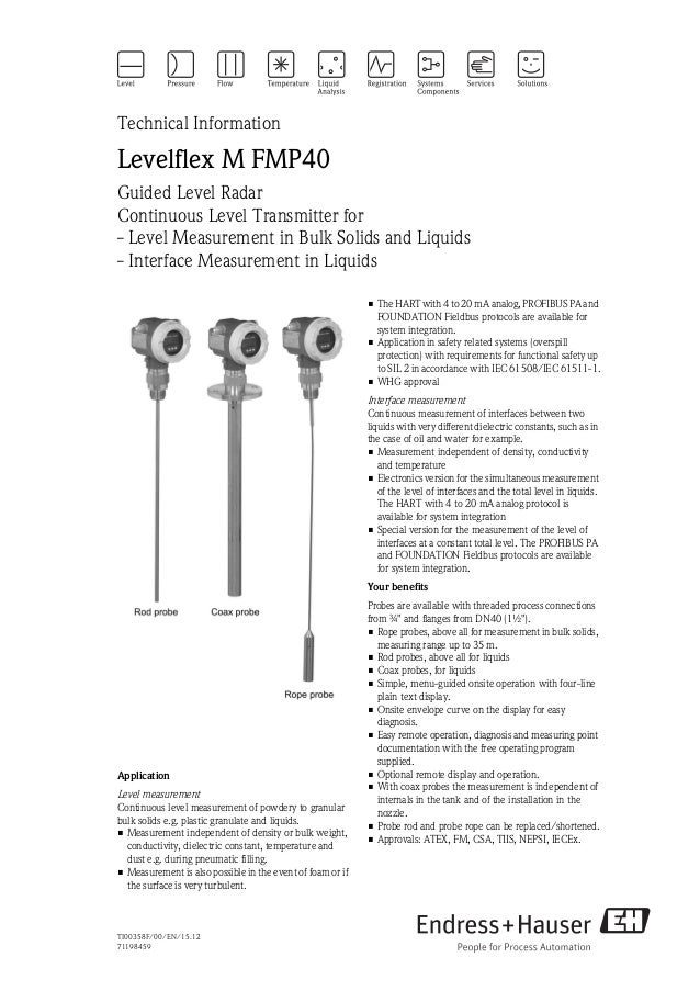 TI00358F/00/EN/15.1271198459Technical InformationLevelflex M FMP40Guided Level RadarContinuous Level Transmitter for- Leve...