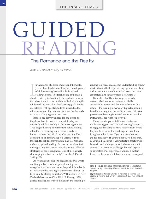 268T H E I N S I D E T R A C KThe Reading Teacher Vol. 66 Issue 4 pp. 268–284 DOI:10.1002/TRTR.01123 © 2012 International ...