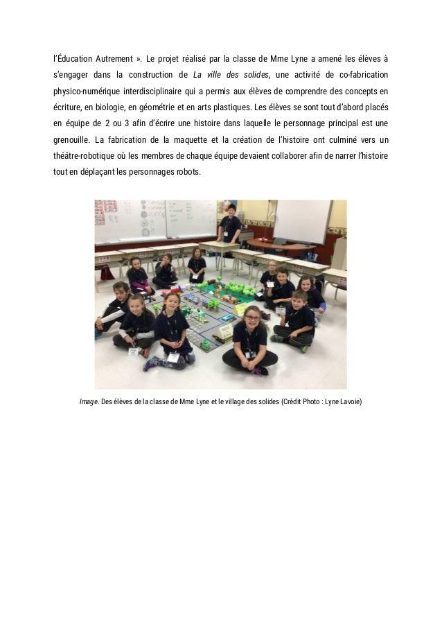 l'Éducation Autrement ». Le projet réalisé par la classe de Mme Lyne a amené les élèves à               ...