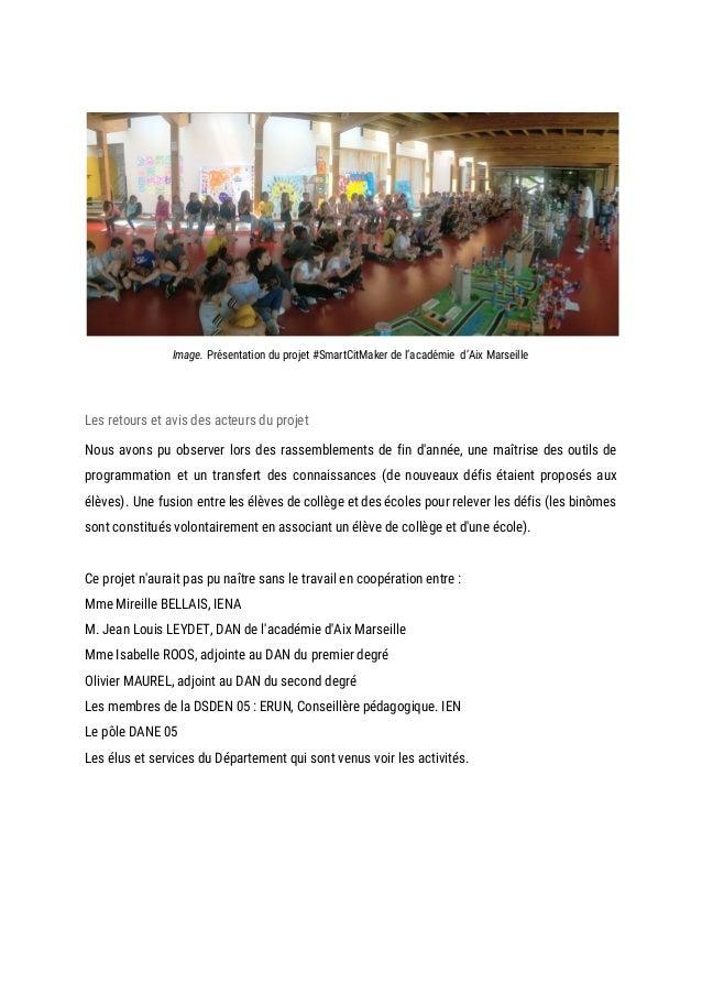 Image. Présentation du projet #SmartCitMaker de l'académie d'Aix Marseille  Les retours et avis des acteurs du p...