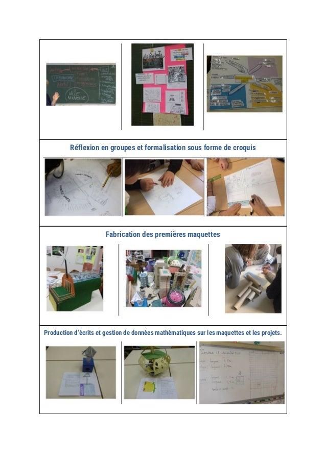 Réflexion en groupes et formalisation sous forme de croquis  Fabrication des premières maquettes  Production d'écr...