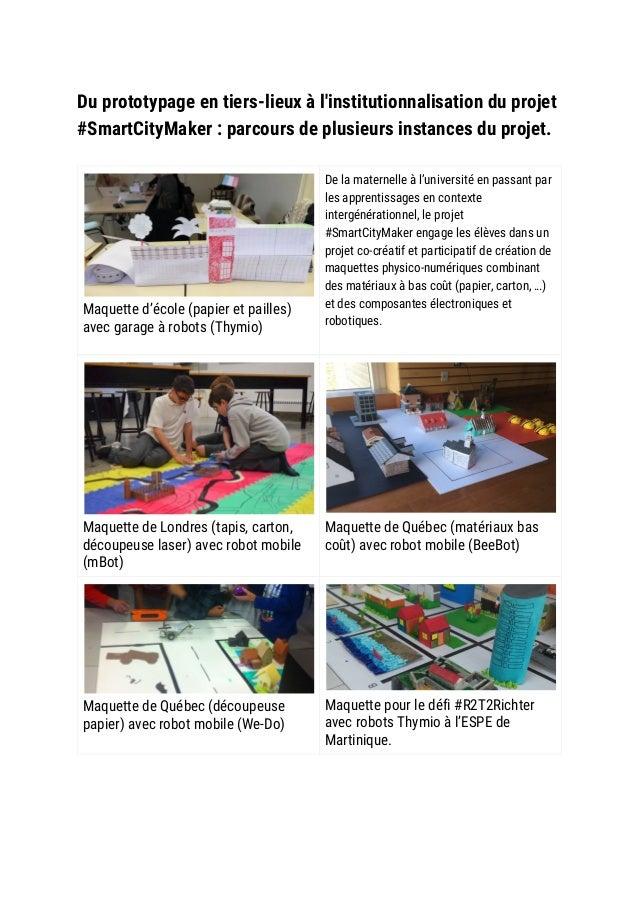 Du prototypage en tiers-lieux à l'institutionnalisation du projet #SmartCityMaker : parcours de plusieurs instances du ...