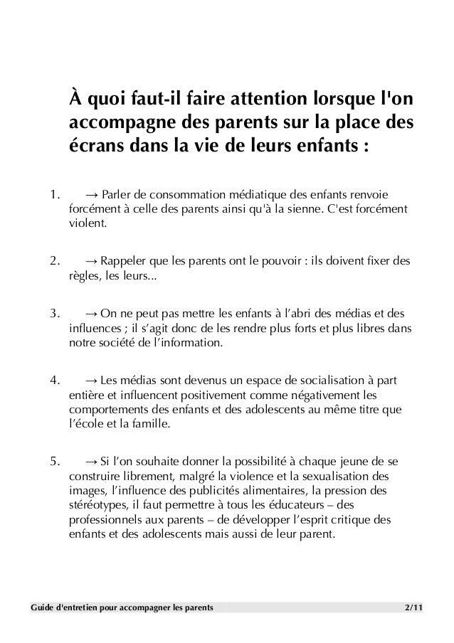 Guide d'entretien pour entrer en relation avec les parents ...