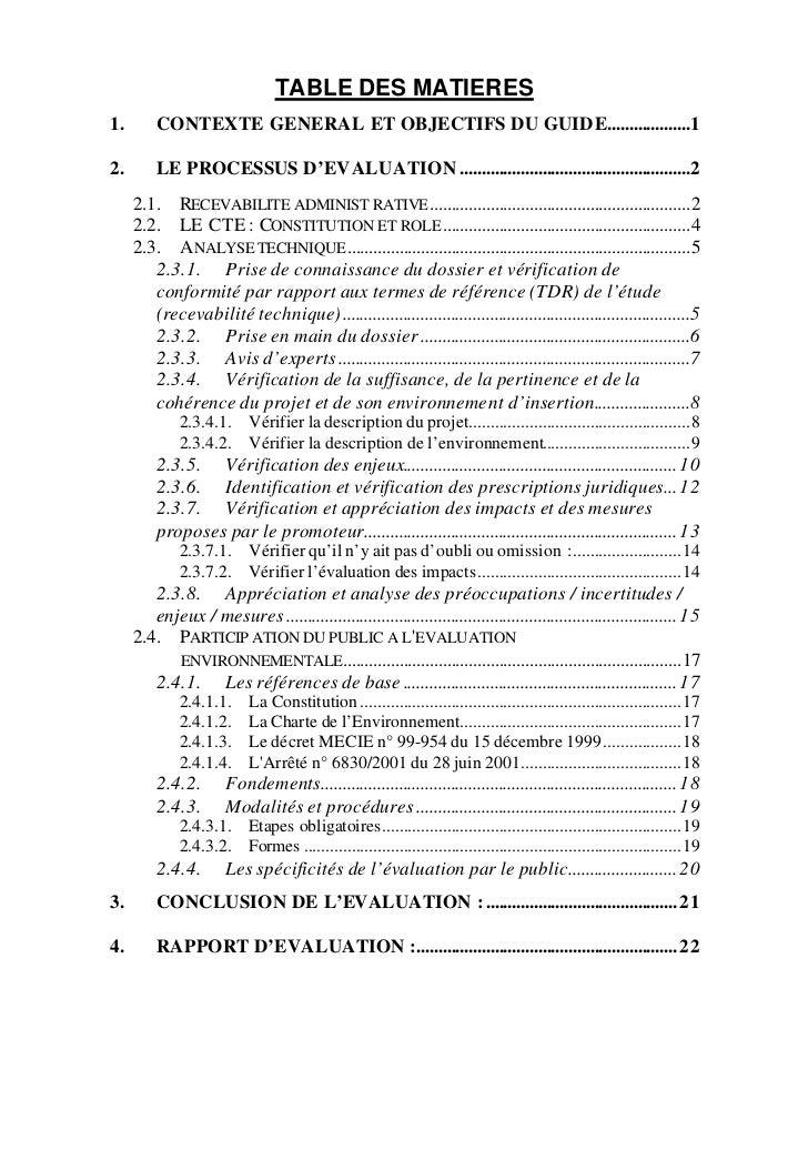 TABLE DES MATIERES1.       CONTEXTE GENERAL ET OBJECTIFS DU GUIDE...................12.       LE PROCESSUS D'EVALUATION .....