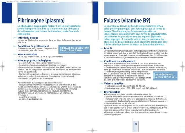 2323 Folates (vitamine B9) Les nombreux dérivés de l'acide folique (vitamine B9 ou acide ptéroylglutamique) sont regroupés...