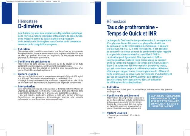 3131 Hémostase Tauxdeprothrombine- TempsdeQuick et INR Le temps de Quick est le temps nécessaire à la coagulation d'un pla...