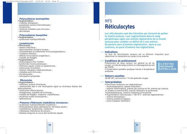 51 NFS Réticulocytes Les réticulocytes sont des hématies qui viennent de quitter la moelle osseuse. Leur augmentation dans...